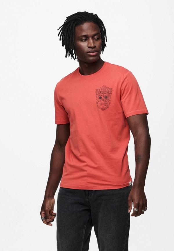 мужская футболка с коротким рукавом only & sons, розовая