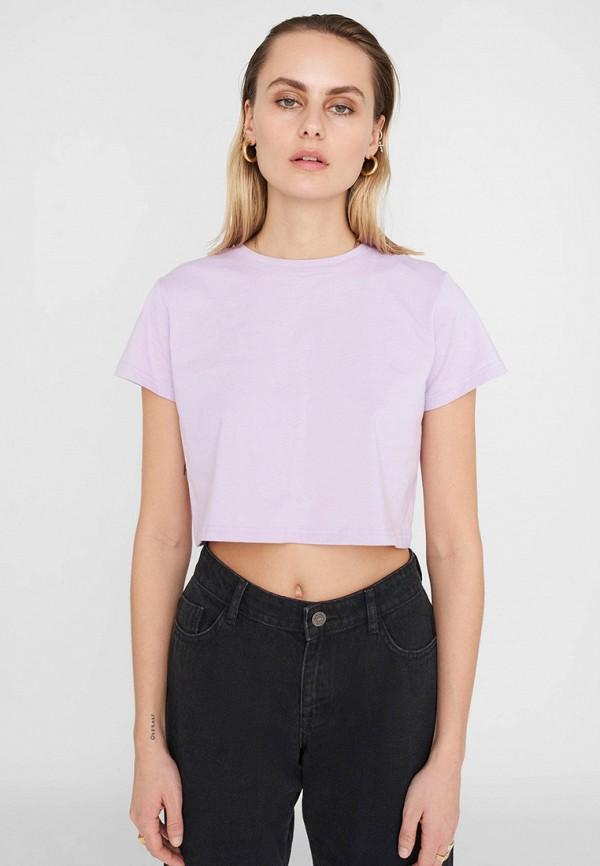 женская футболка noisy may, фиолетовая
