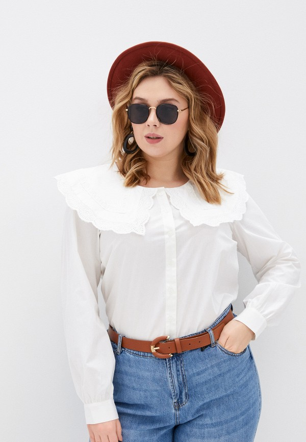 женская рубашка с длинным рукавом zizzi, белая