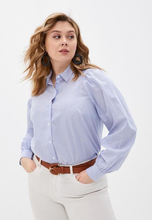 женская рубашка с длинным рукавом zizzi, голубая