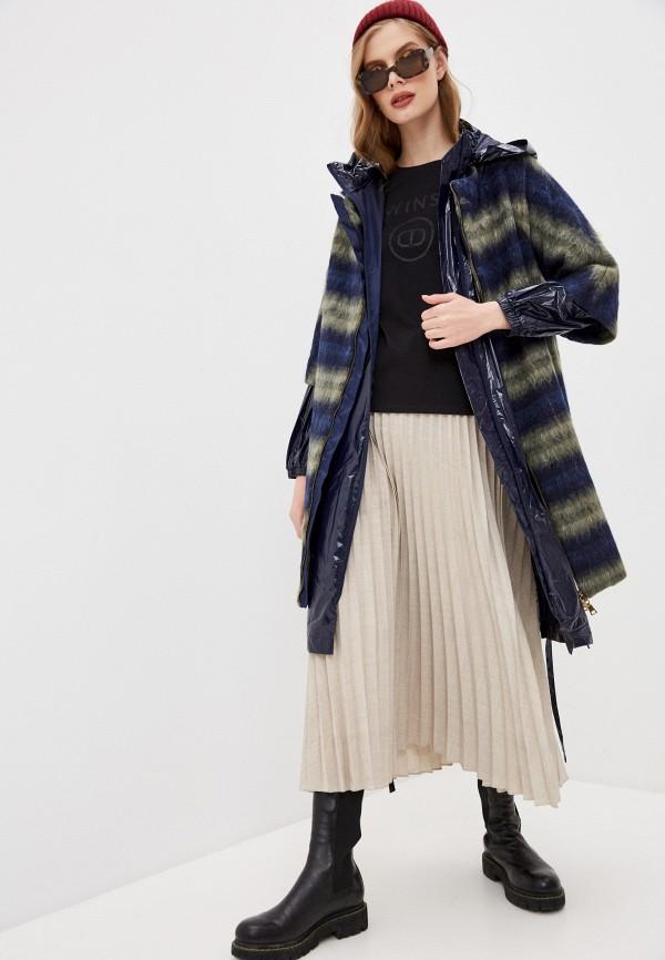 женское пальто twinset milano, синее
