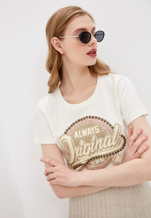 женская футболка twinset milano, бежевая