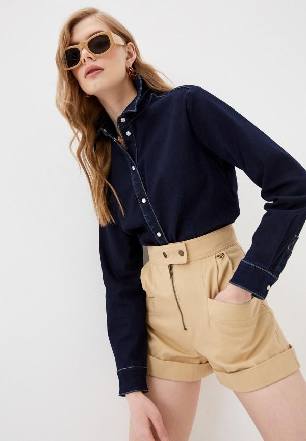 женская джинсовые рубашка twinset milano, синяя