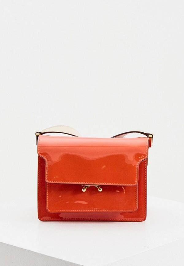 женская сумка через плечо marni, красная