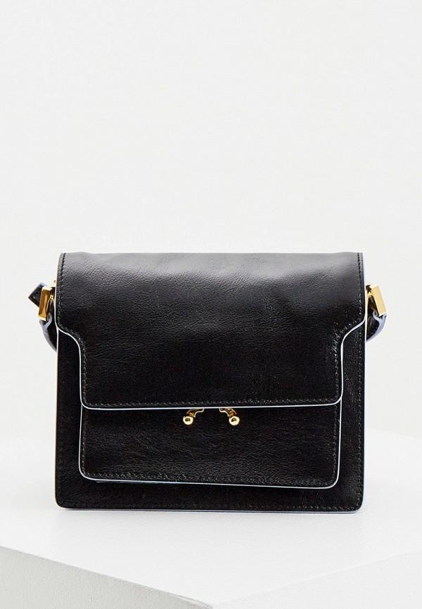 женская сумка через плечо marni, черная
