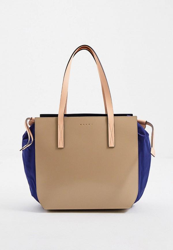 женская сумка-шоперы marni, бежевая
