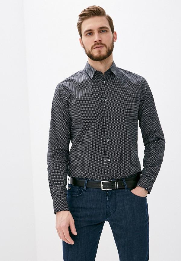 мужская рубашка с длинным рукавом emporio armani, черная