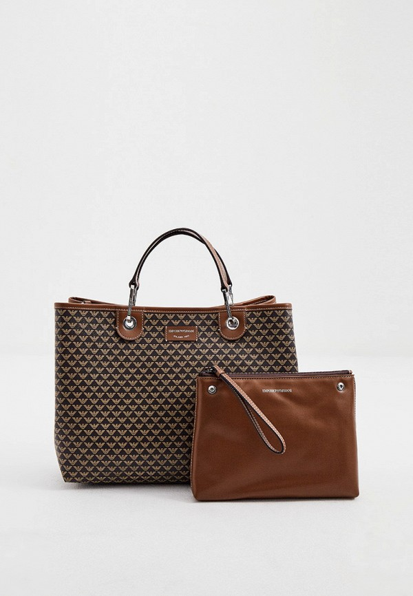 женская сумка с ручками emporio armani, коричневая