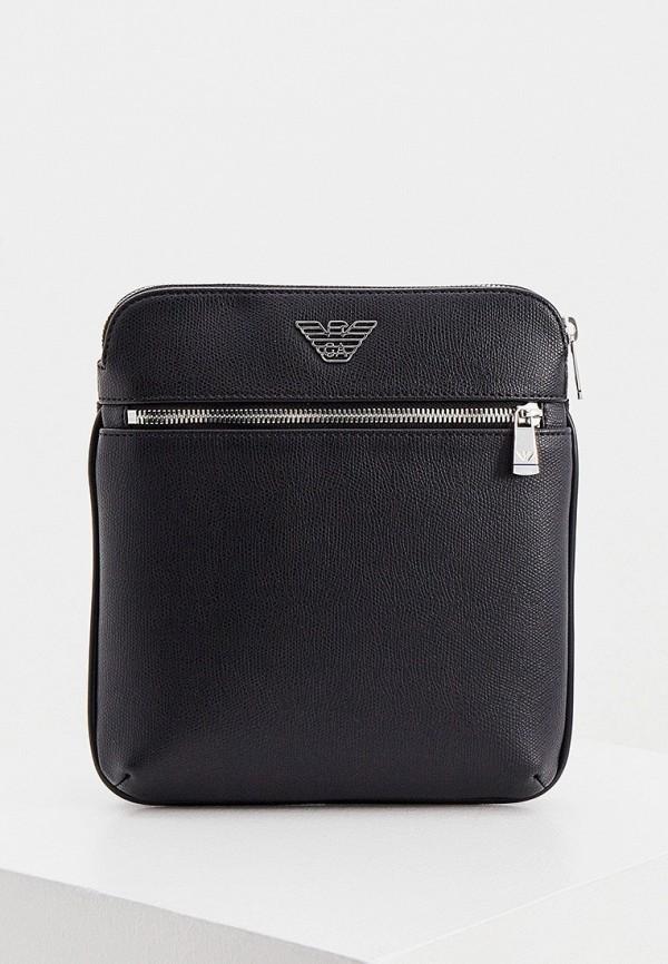 мужская сумка через плечо emporio armani, черная