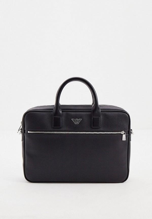 мужская сумка с ручками emporio armani, черная