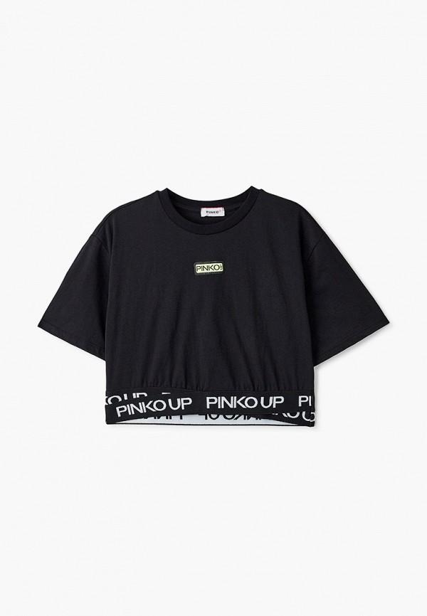 футболка с коротким рукавом pinko up для девочки, черная