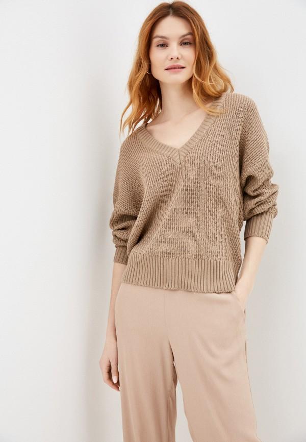 женский пуловер ichi, коричневый