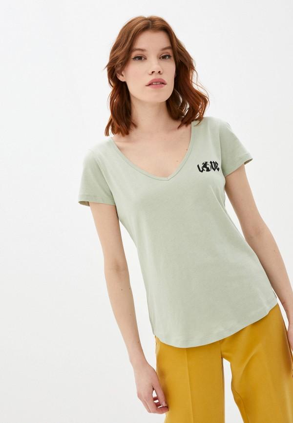 женская футболка ichi, зеленая