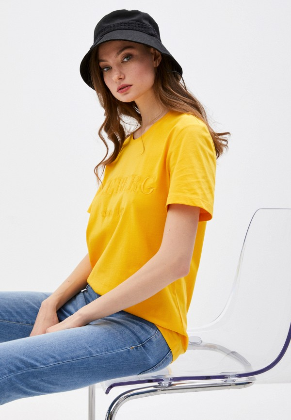 женская футболка iceberg, желтая