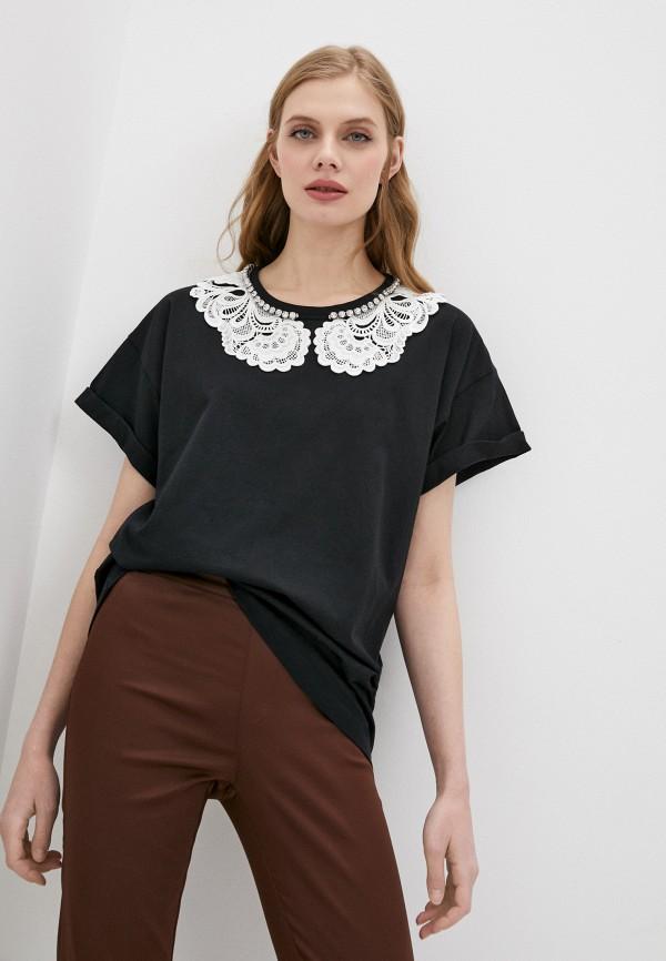 женская футболка с коротким рукавом n21, черная