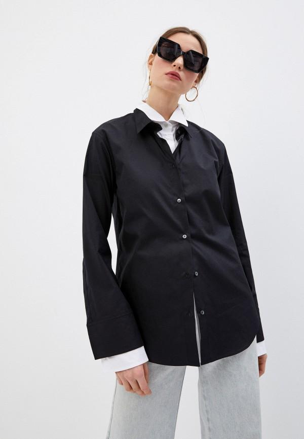 женская рубашка с длинным рукавом n21, черная