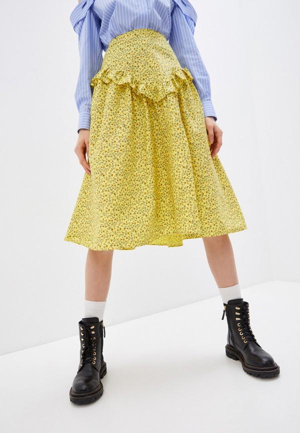 женская юбка-трапеции vivetta, желтая
