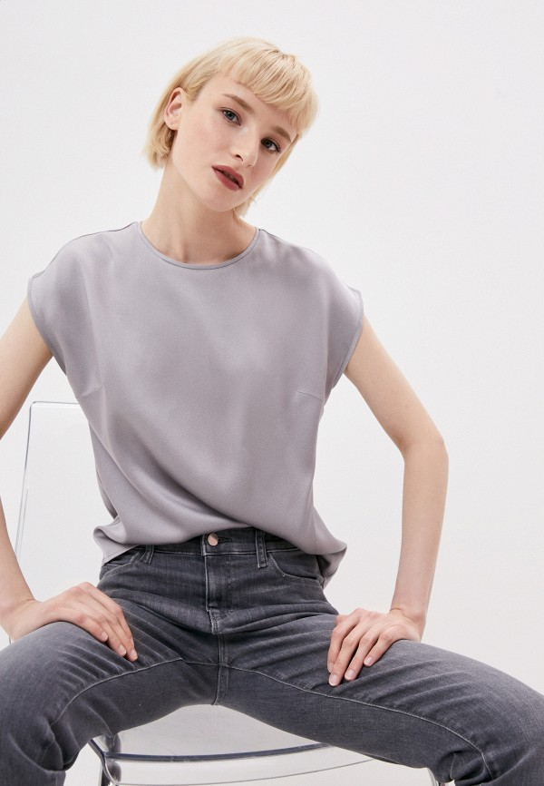 женская блузка с коротким рукавом seventy, серая