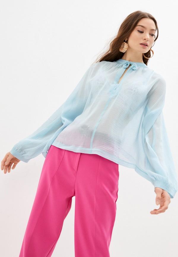 женская блузка с длинным рукавом seventy, голубая