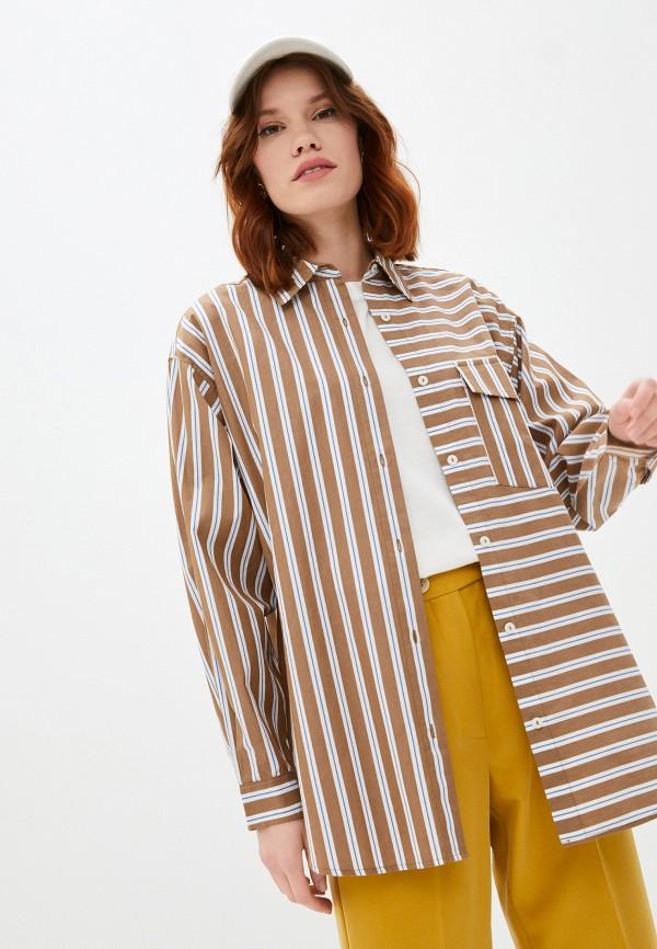 женская рубашка с длинным рукавом marc o'polo denim, коричневая