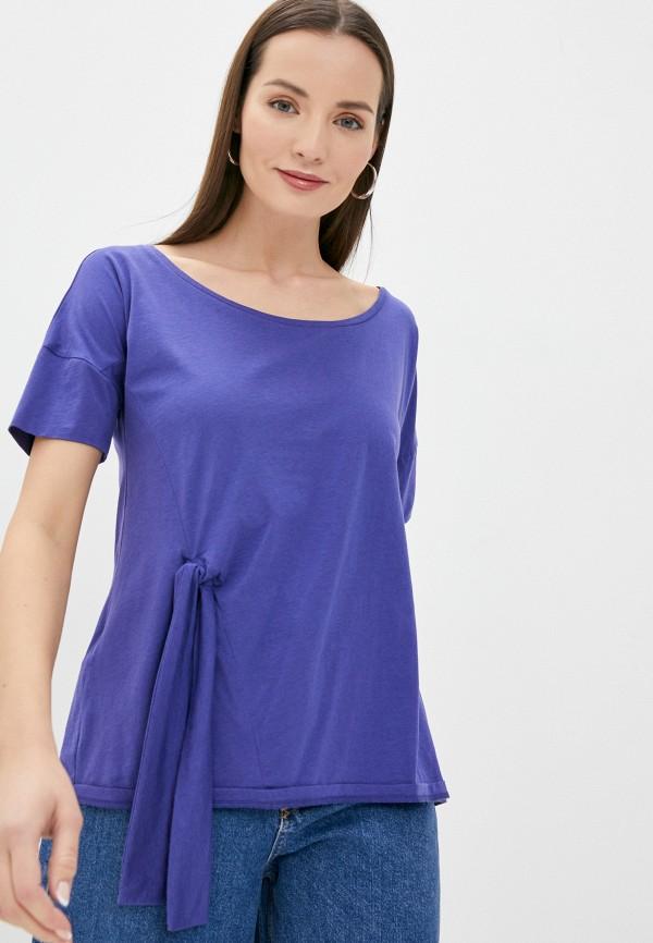 женская футболка stefanel, фиолетовая