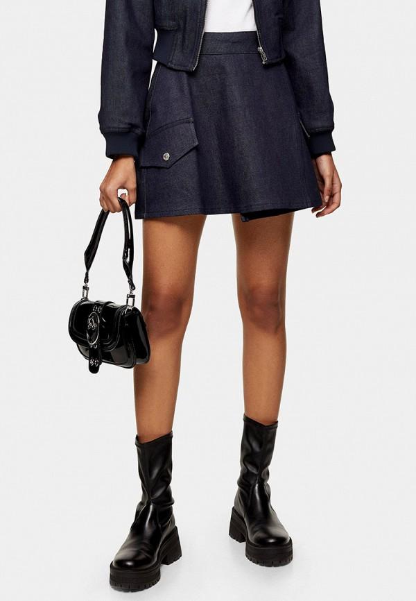 женская джинсовые юбка topshop, синяя