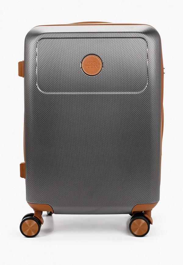 женский чемодан polar, серый