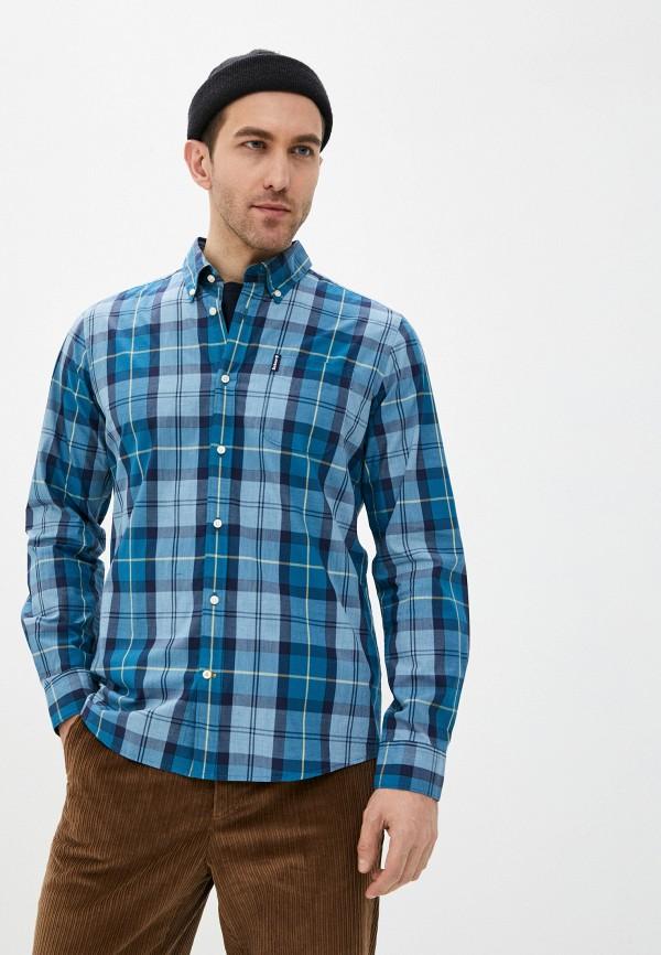 мужская рубашка с длинным рукавом barbour, голубая