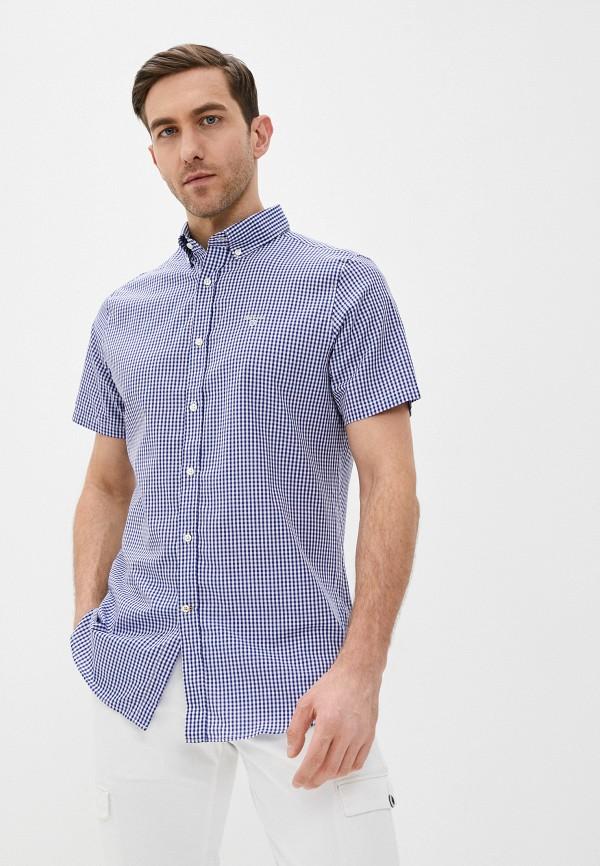 мужская рубашка с коротким рукавом barbour, синяя