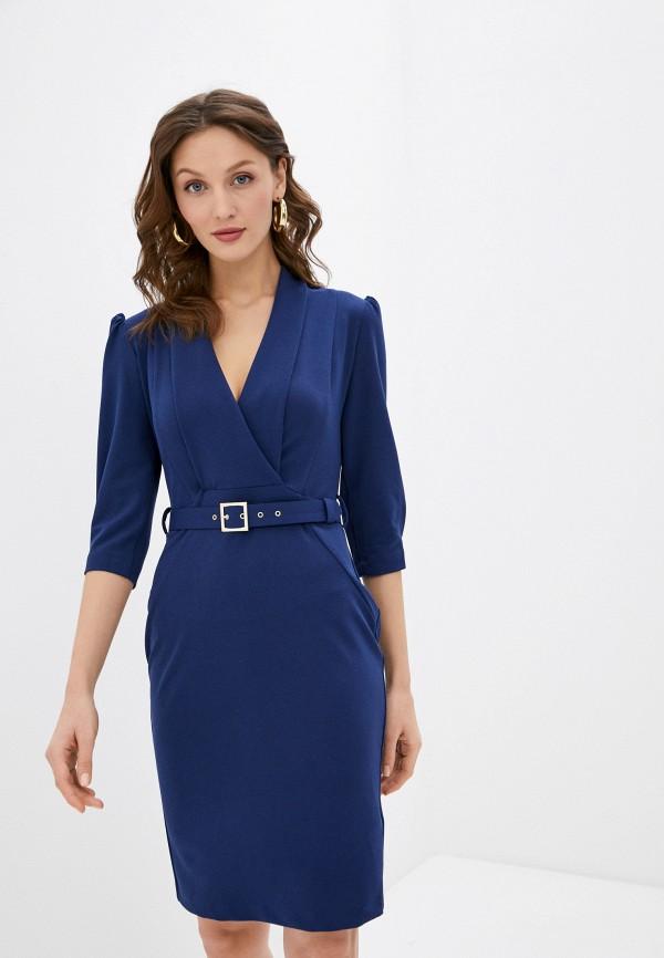женское платье-футляр rinascimento, синее