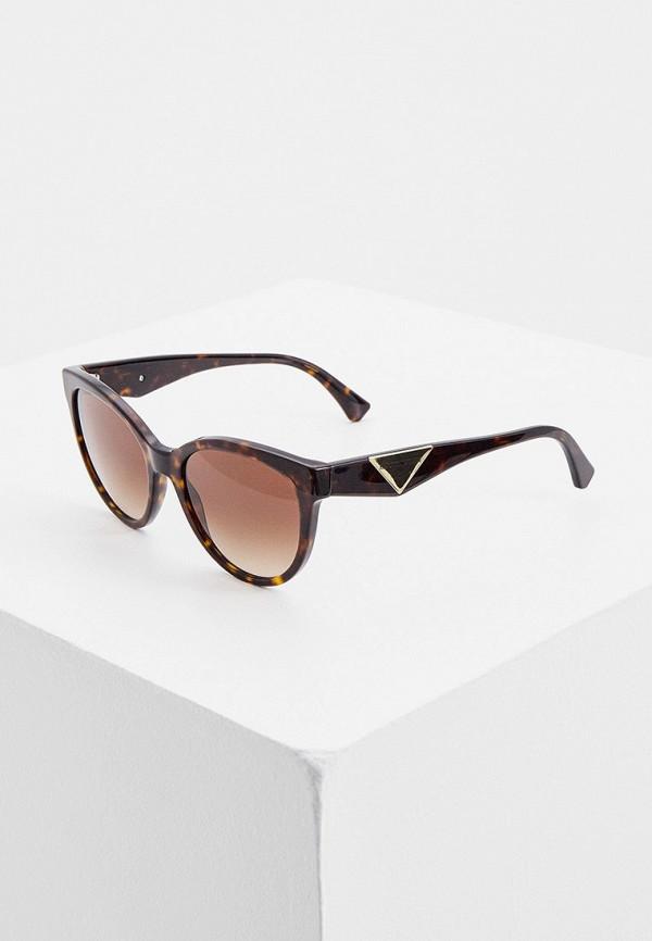 женские круглые солнцезащитные очки emporio armani, коричневые