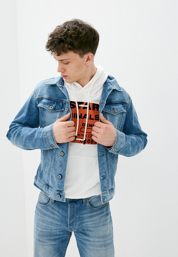 мужская джинсовые куртка g-star raw, голубая