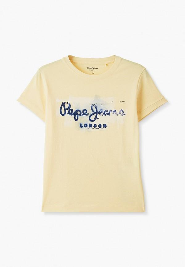 футболка с коротким рукавом pepe jeans london для мальчика, желтая