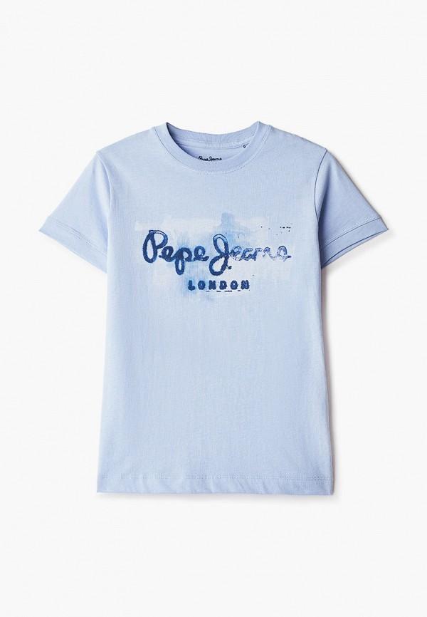 футболка с коротким рукавом pepe jeans london для мальчика, голубая