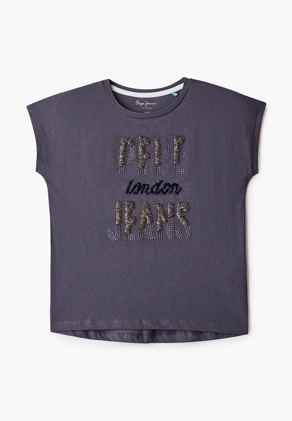 футболка с коротким рукавом pepe jeans london для девочки, серая