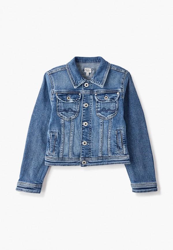 джинсовые куртка pepe jeans london для девочки, синяя