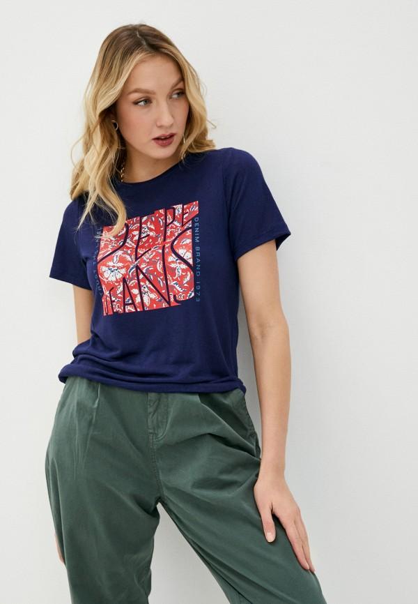 женская футболка pepe jeans london, синяя