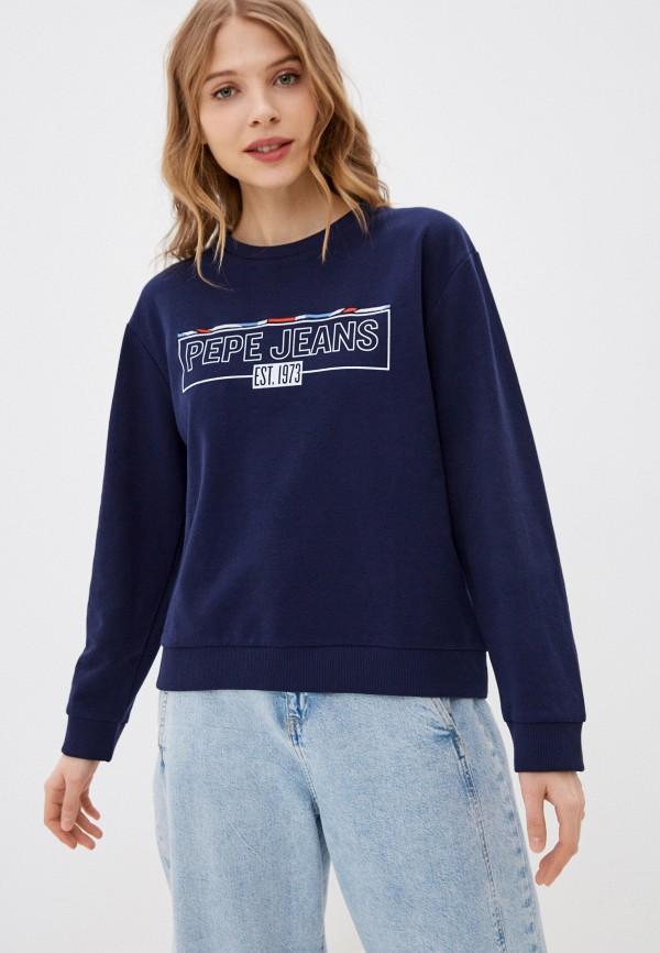 женский свитшот pepe jeans london, синий