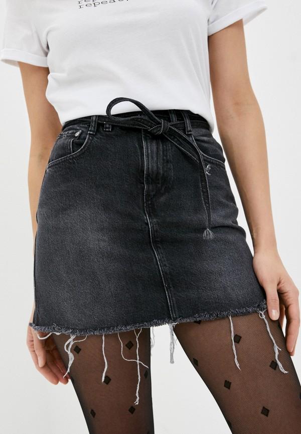 женская джинсовые юбка pepe jeans london, серая