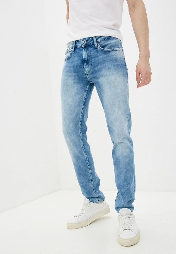 мужские зауженные джинсы pepe jeans london, голубые