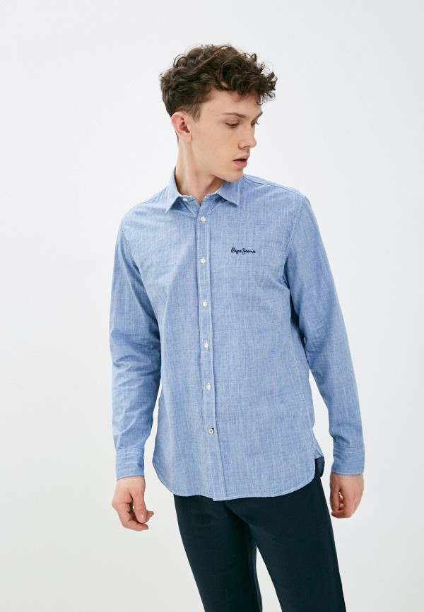 мужская рубашка pepe jeans london, синяя