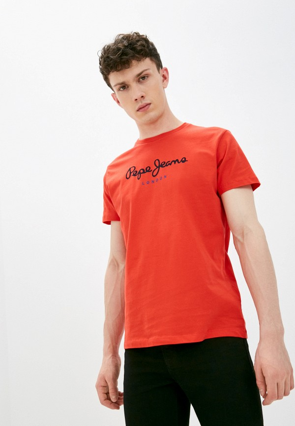 мужская футболка с коротким рукавом pepe jeans london, красная
