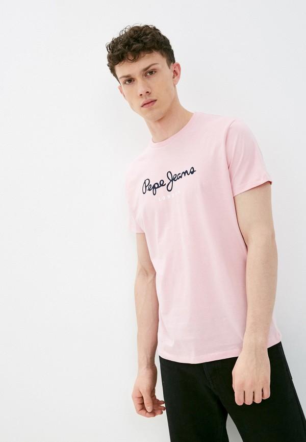 мужская футболка с коротким рукавом pepe jeans london, розовая