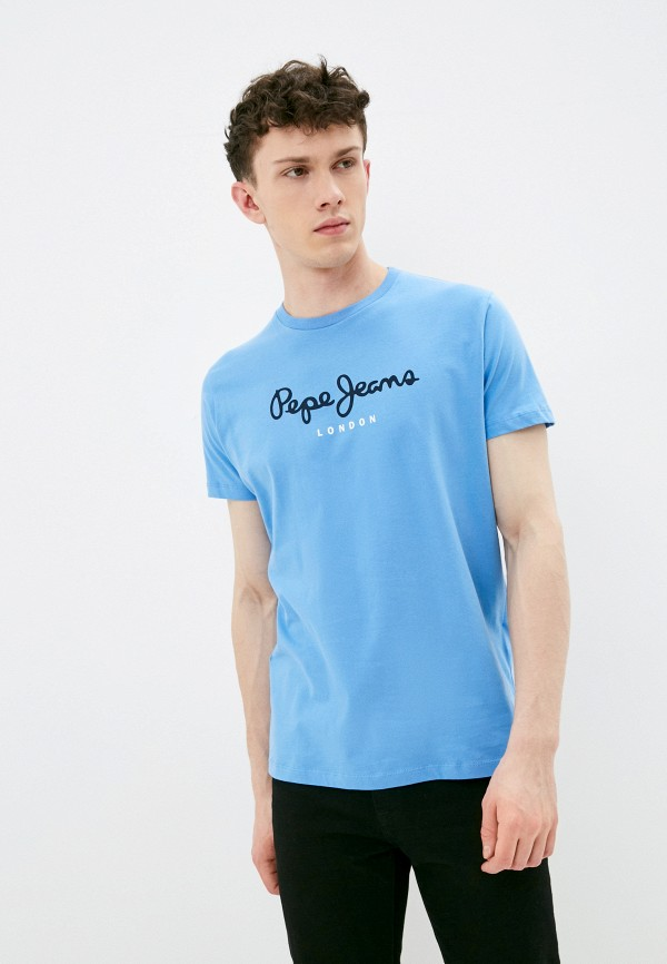 мужская футболка с коротким рукавом pepe jeans london, голубая