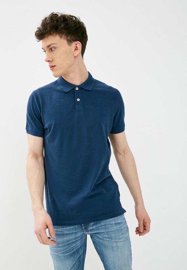 мужское поло pepe jeans london, синее