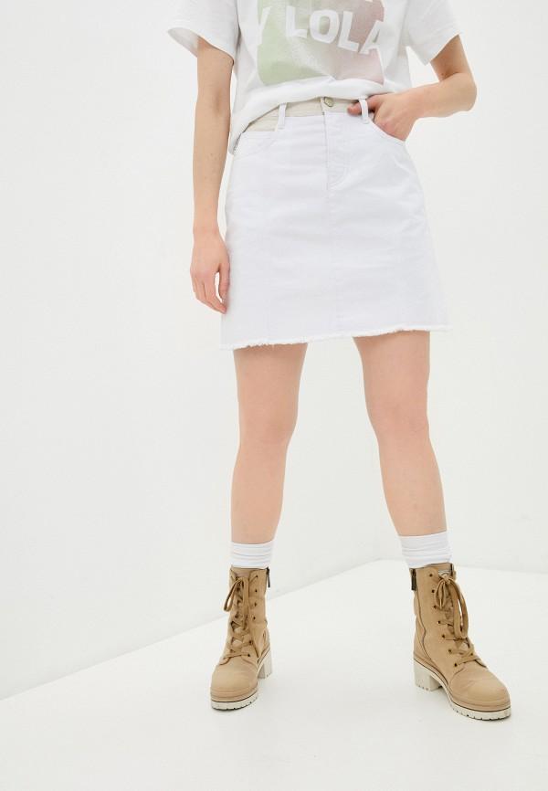 женская джинсовые юбка bimba y lola, белая