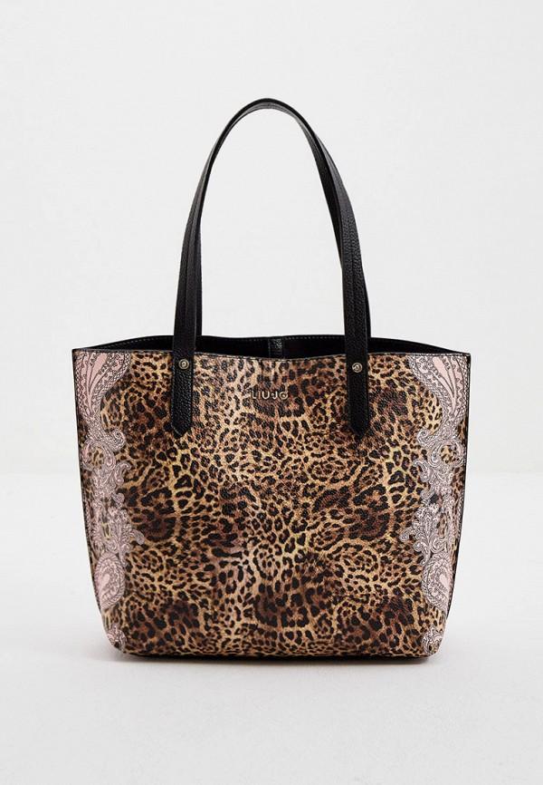 женская сумка с ручками liu jo, коричневая