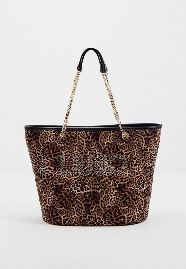 женская сумка-шоперы liu jo, коричневая