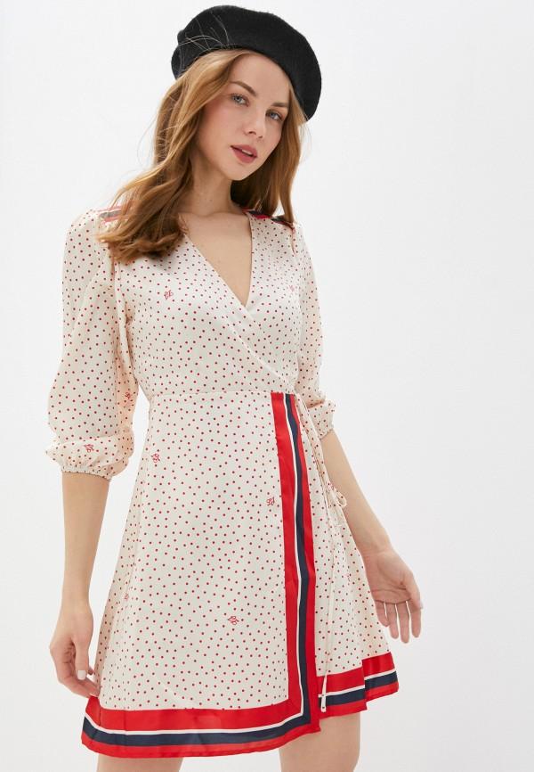 женское платье с запахом liu jo, бежевое