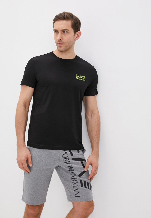 мужская футболка ea7, черная